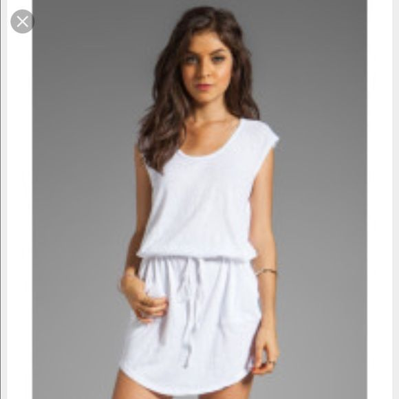 C&c California white sleeveless with elastic waist C&C California white sleeveless with drawstring waist- only worn a couple of times- two front pockets and extremely light weight perfect for the summer! Cotton mesh on the shoulders. C&C California Dresses Mini