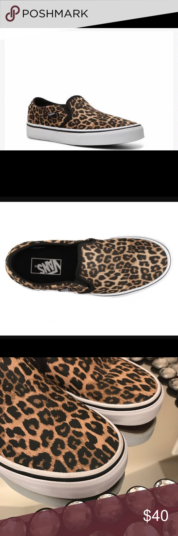 e364e3a41375 Vans💋leopard print Vans Asher Canvas leopard slip on sneakers .....like  new condition only worn twice Vans Shoes Sneakers