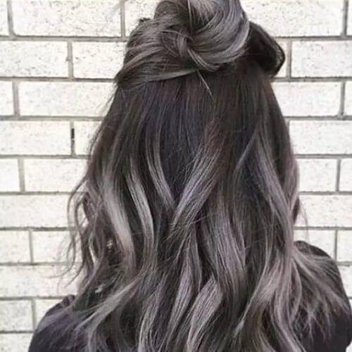 Gray Highlights in Dark Brown Hair