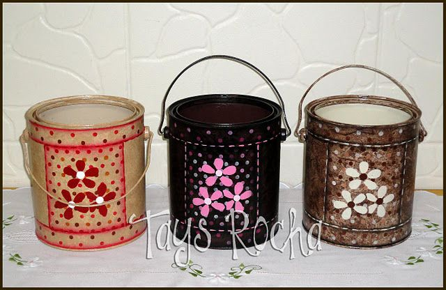 Latas recicladas com pintura #can #recycling #crafts