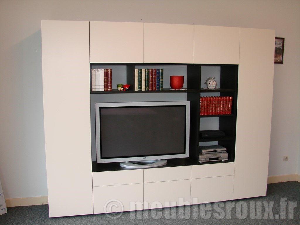 Meuble Tv Bibliothèque Blanc meuble télé, living, bibliothèque design en valchromat noir