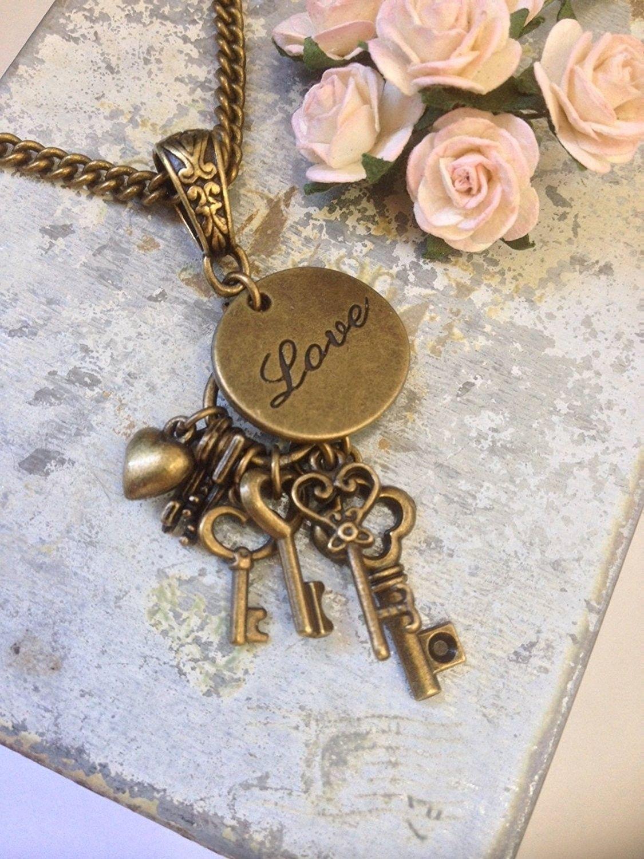 8th wedding anniversary true love bronze necklace 8