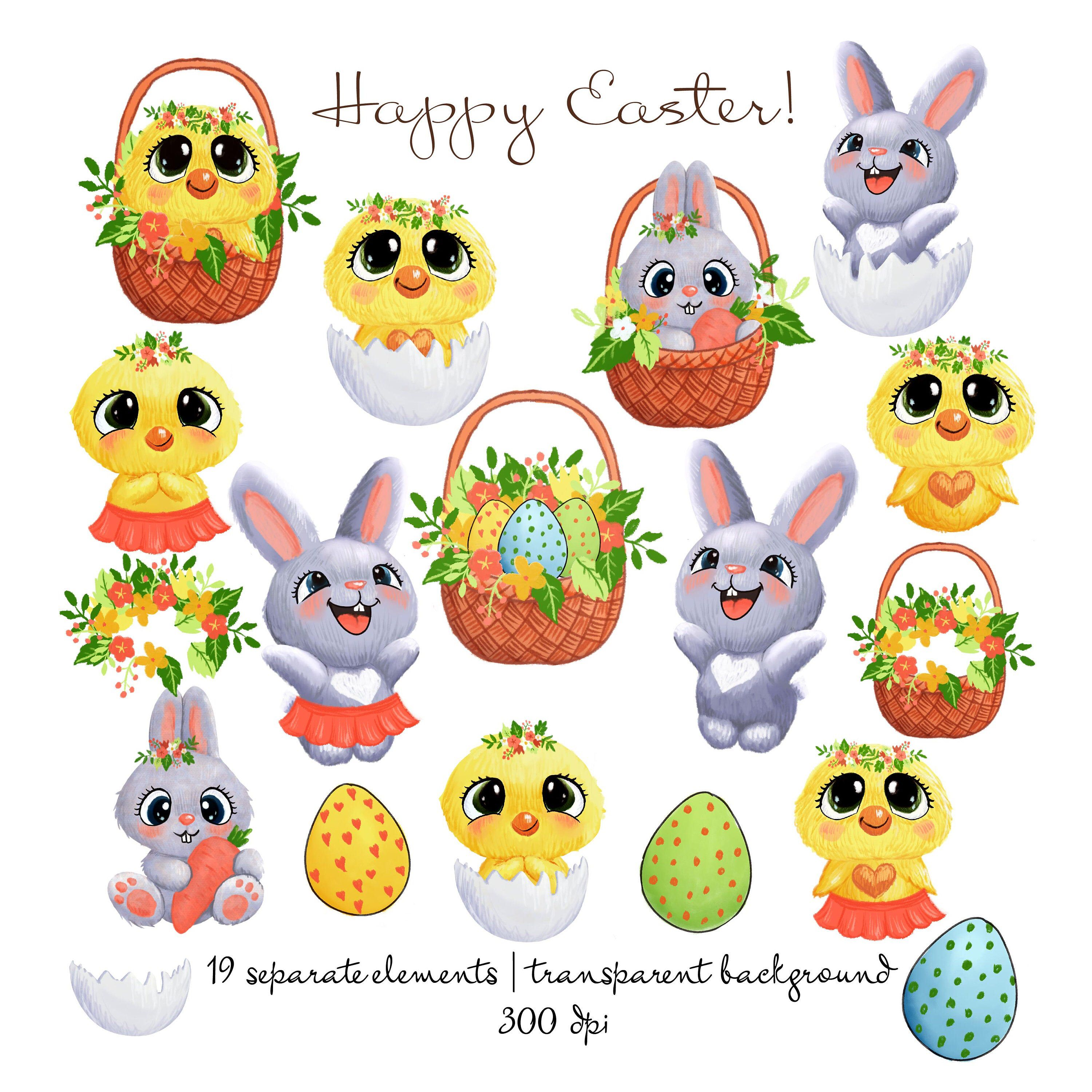 Easter Clipart Cute Easter Clipart Woodland Rabbit Bunny Etsy Easter Stickers Cute Animal Clipart Easter Clipart