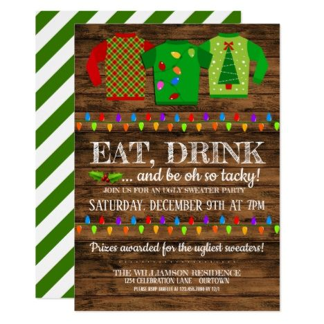 Fun Ugly Christmas Sweater Party Invitation in 2018 Christmas