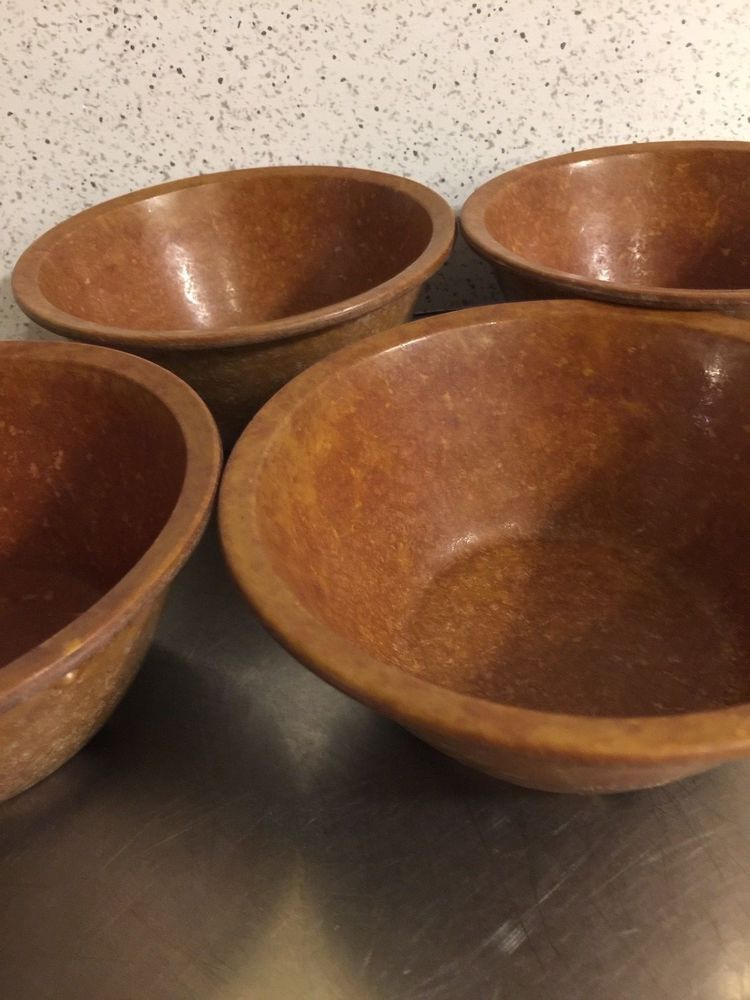Melmac Melamine Halsey Ware Bowls Set 4 Brown Confetti US Army Mess