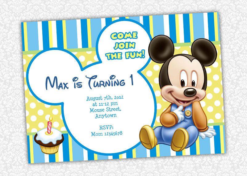 Custom Baby Mickey Mouse 1st Birthday Invitations by itsJenuine – Baby Mickey Mouse 1st Birthday Invitations