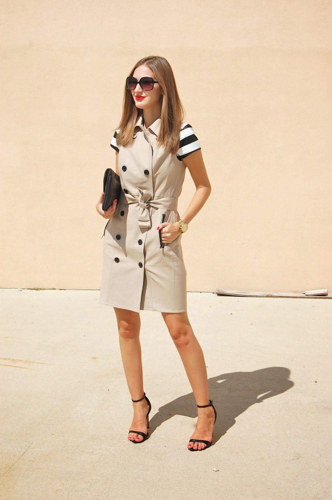 3b175330ef4f Wearing Ann Taylor Sleeveless Trench Coat, Striped Top Sleeveless Trench  Coat, Trench Coat Dress