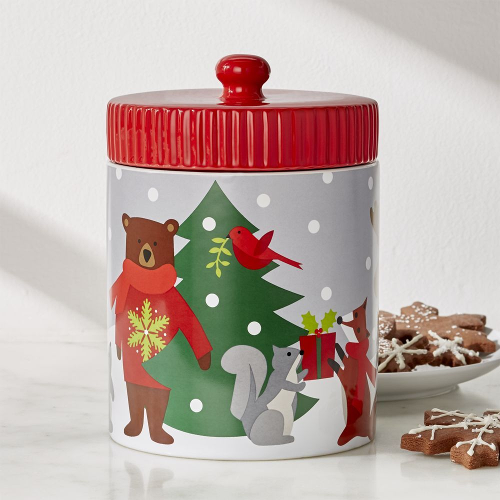 Holiday Critters Cookie Jar With Images Crate And Barrel Christmas Kitchen Decor