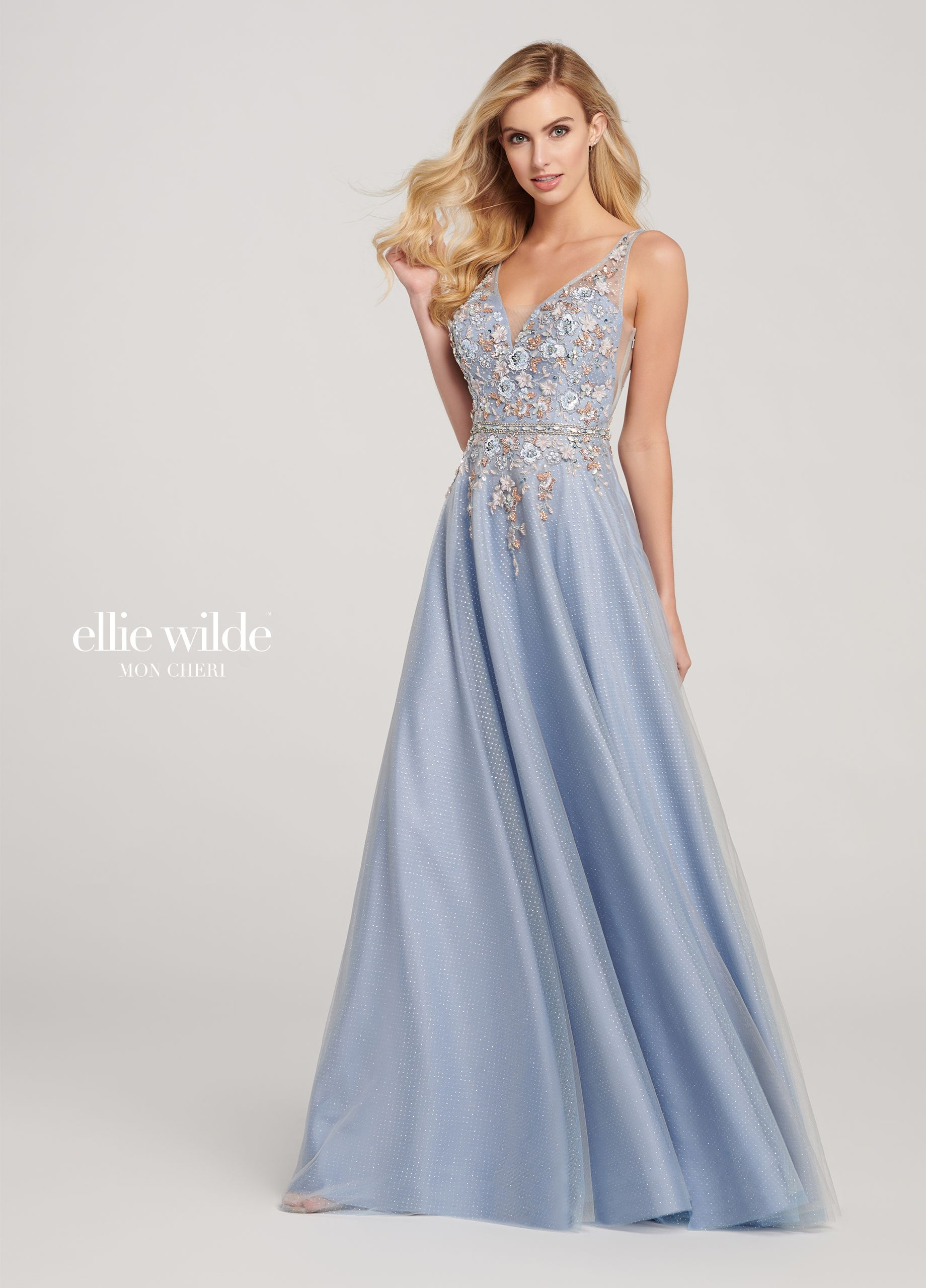 f37c6c360d Glitter Tulle V-Neck A-Line Prom Dress with a 3D Floral Bodice ...