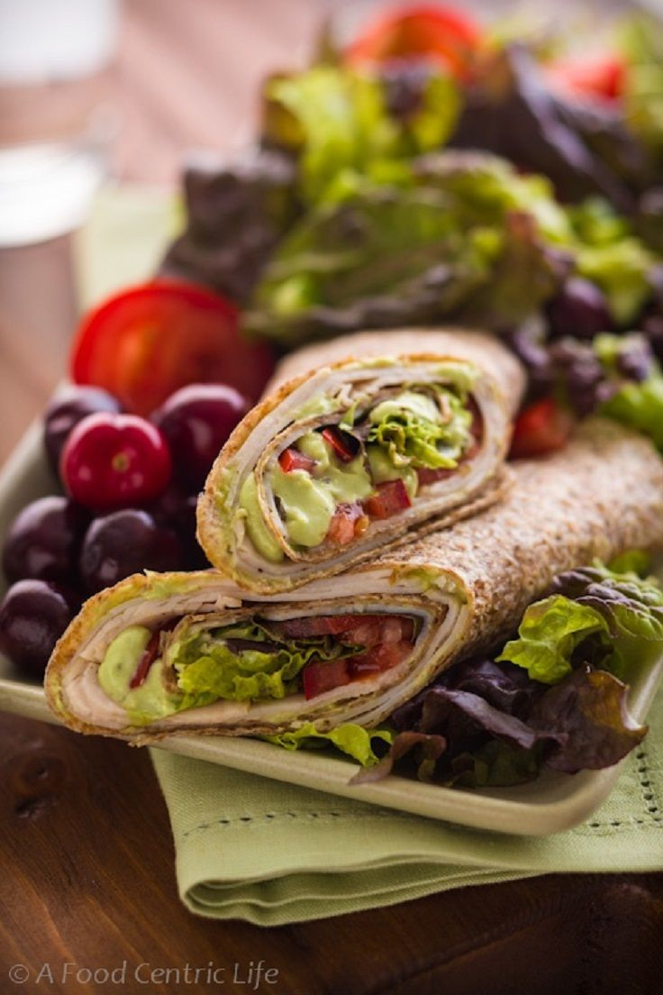 9 Turkey Tortilla Wrap With Avocado Cream High Fiber Recipes Http Greatist Com Eat High Fiber Lunch Wrap Recipes High Fibre Lunches Wraps Recipes Healthy