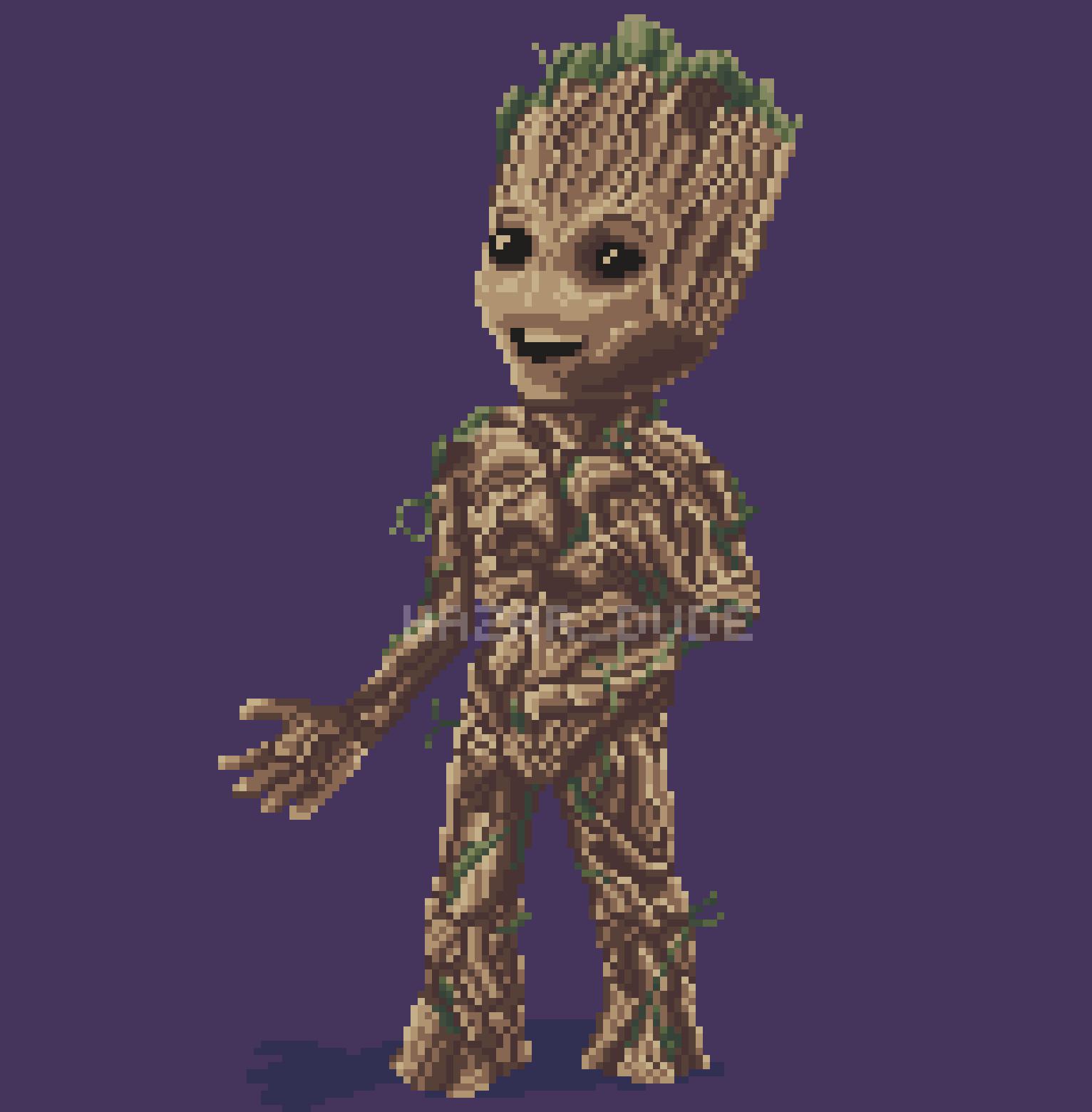 I Am Groot Pixelart Pixel Gaurdians2 Groot Pixel Art