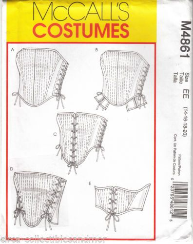 Corsets Misses Boned Reversible Lacing 5 Variations McCalls Sewing Pattern 4861