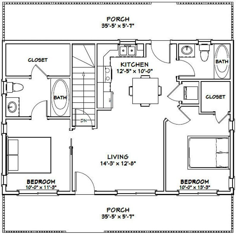 36x24 House 2 Bedroom 2 Bath 812 Sq Ft Pdf Floor Plan Etsy In 2021 Loft Floor Plans Basement House Plans Small House Floor Plans