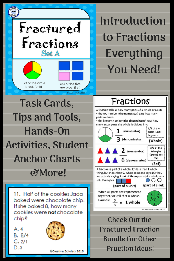 Introduction To Fractions Introduction To Fractions Fractions Word Problems Task Cards