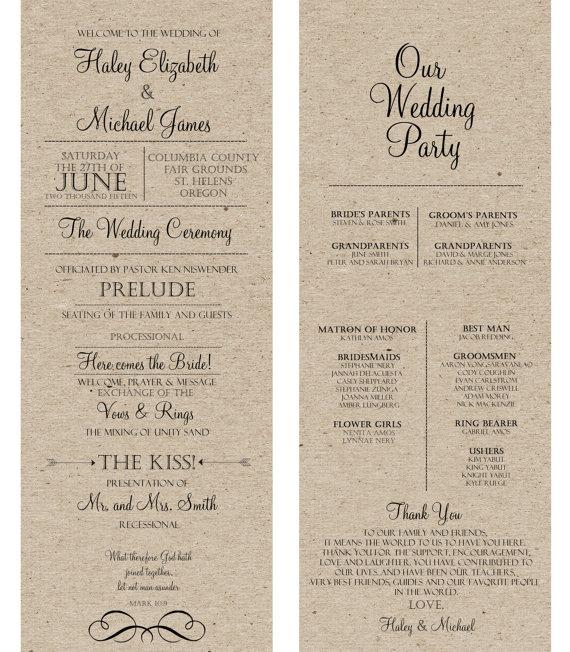Rustic Wedding Program -kraft Wedding Program Off White