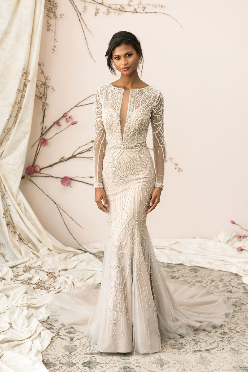 Justin Alexander Signature 9894, a long sleeved tulle and beaded ...