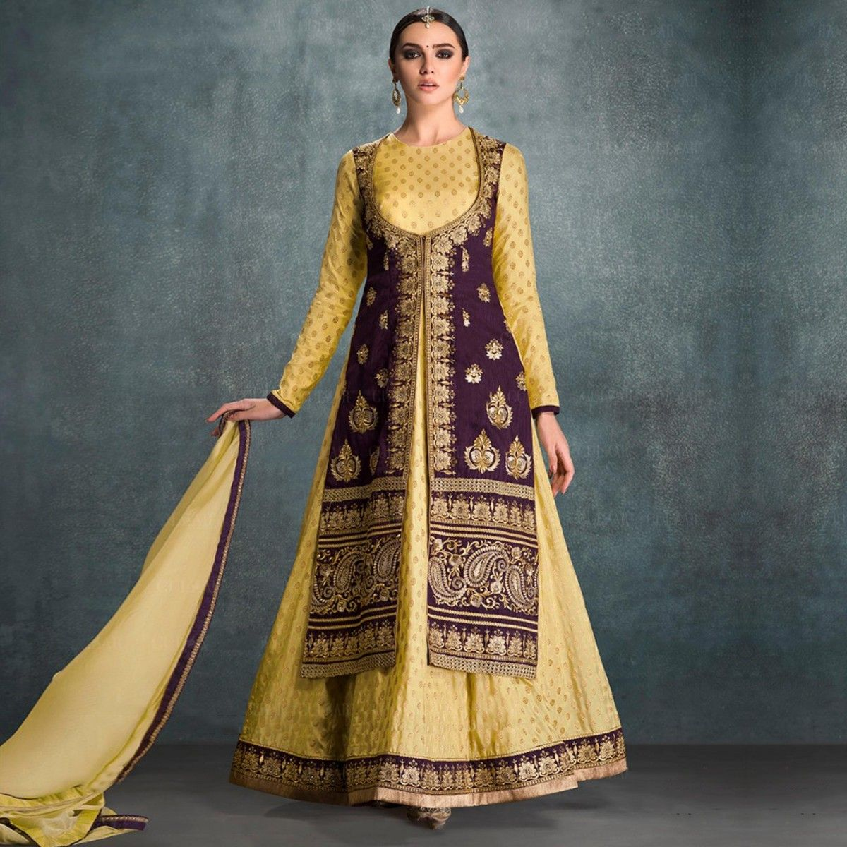 Buy Yellow Jacket Anarkali Suit - Online Women Ethnic Wear at ...