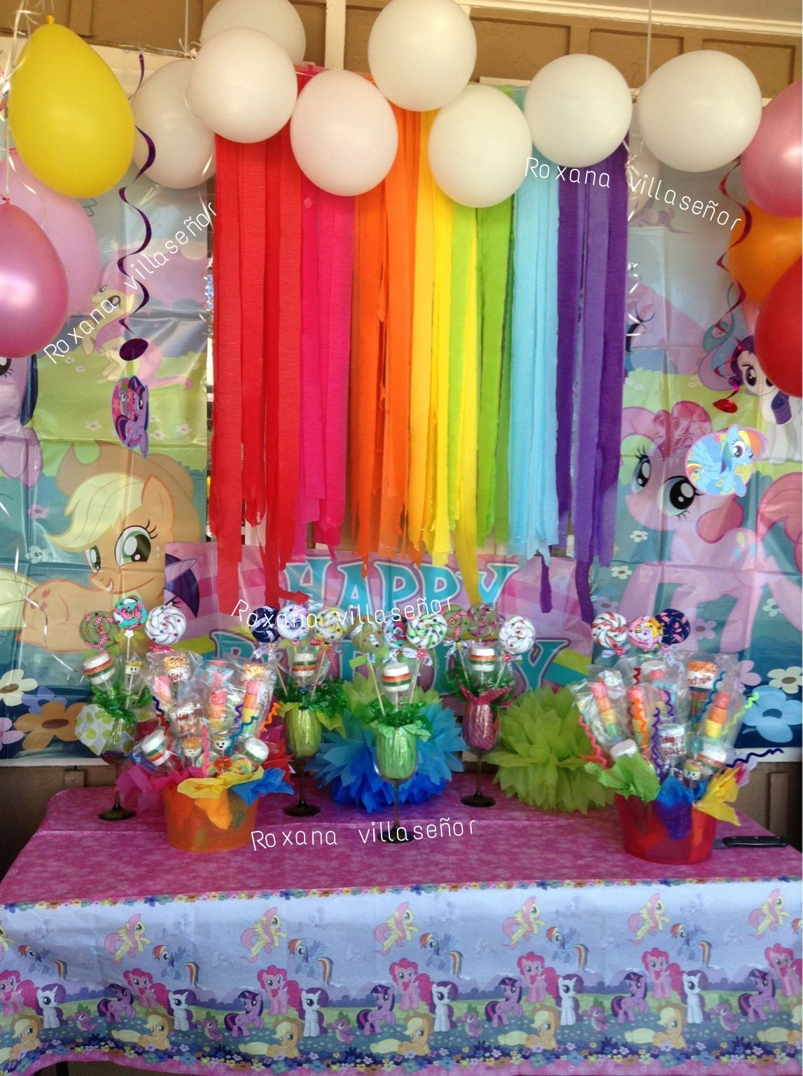 My little pony birthday party decorations for my twin for Bday decoration