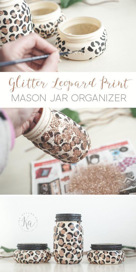 Glitter Leopard Print Mason Jars #masonjardiy