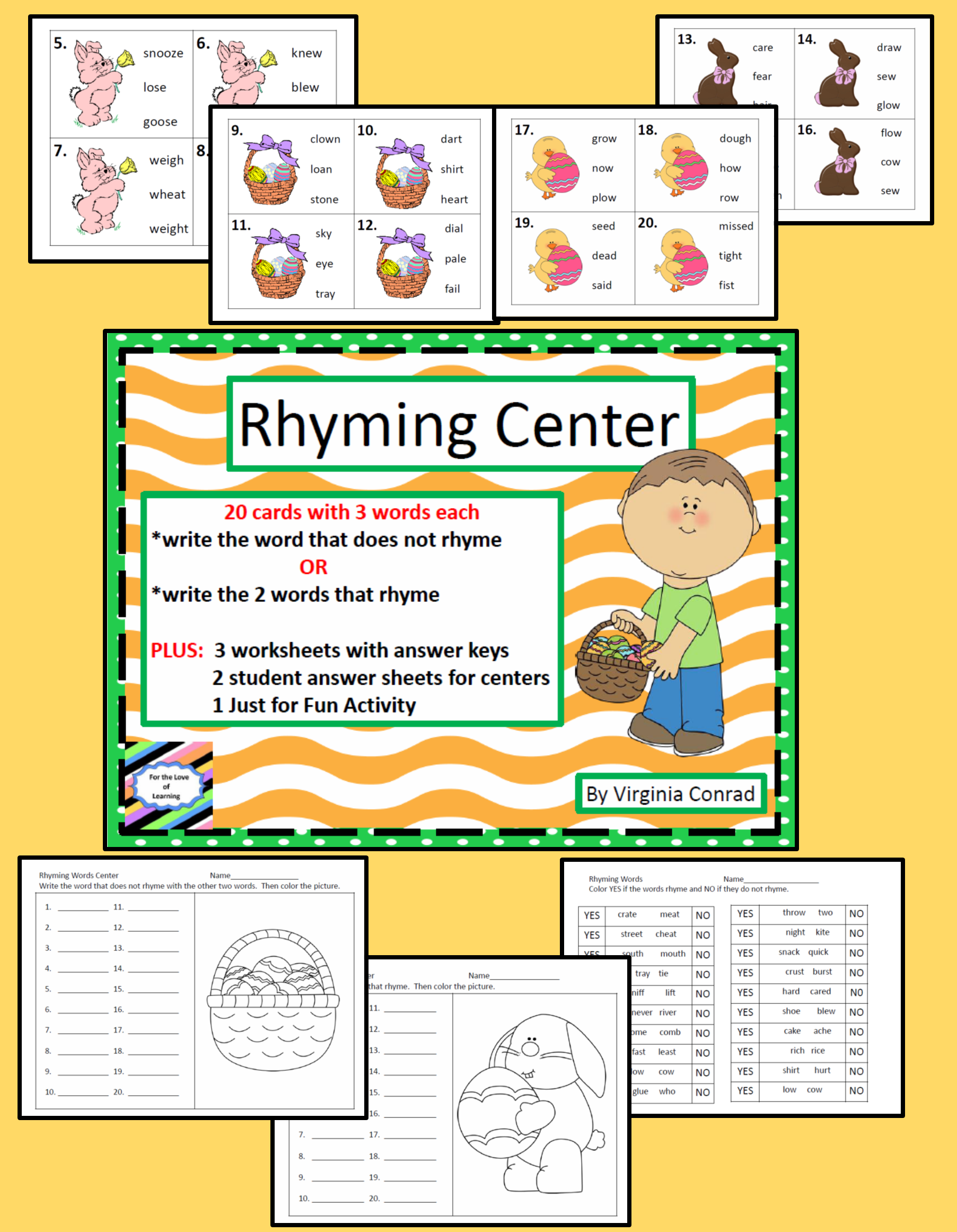 Rhyming Task Cards And Worksheets Easter Theme