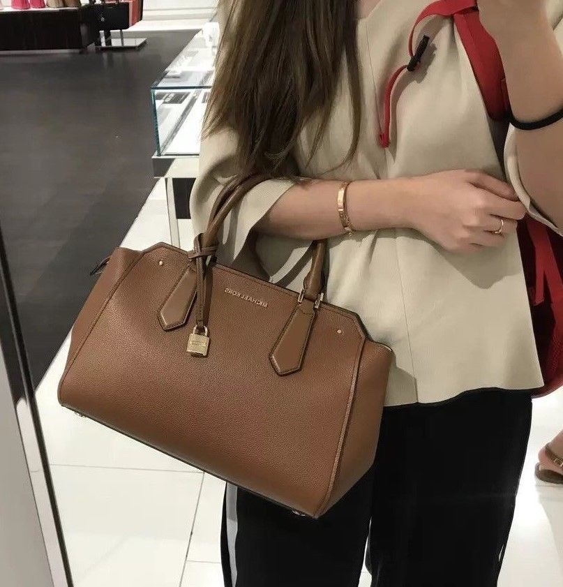620e63177c2d NWT MICHAEL KORS HAYES LARGE LEATHER SATCHEL TOTE BAG ( BROWN ...