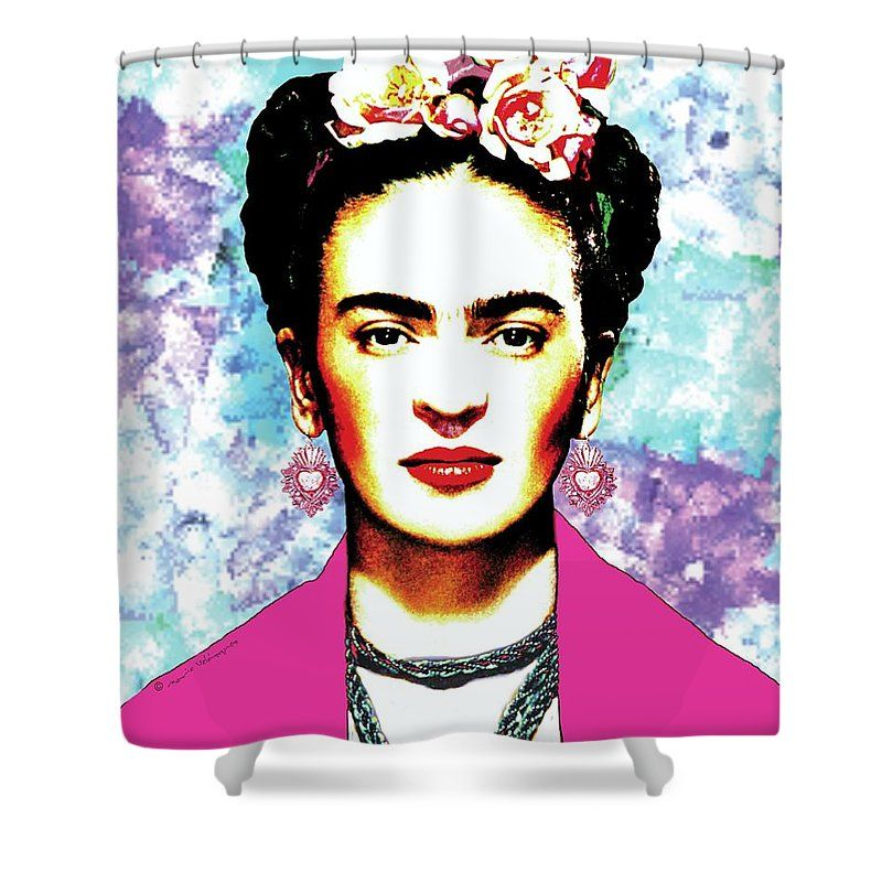 Frida Kahlo With Hot Pink Rebozo On Brush Strokes Background