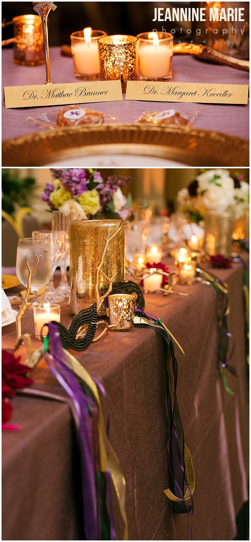 wedding reception restaurants mn%0A Beautiful gold and purple head table for a New Orleans themed wedding in  Saint Paul  MN at the Landmark Center photographed by Twin Cities wedding