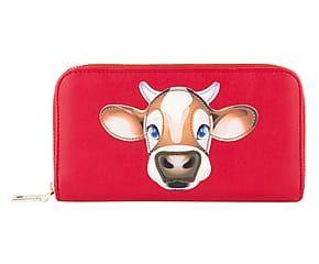 Portafoglio in pelle di vitelo rosso - 20x10x3 cm