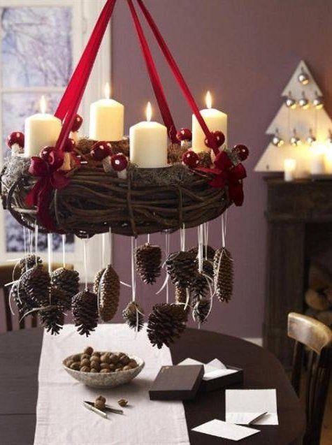 adornos navideos con pias