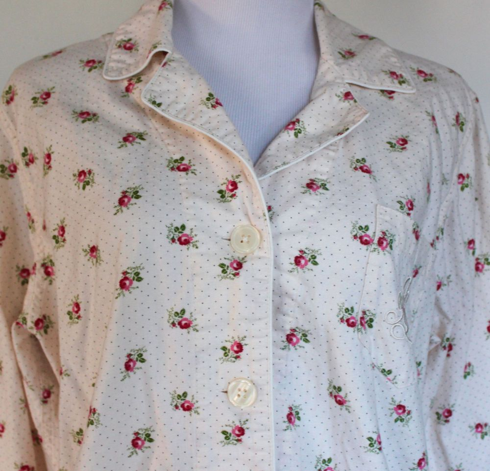 Women S Xl Ralph Lauren Cotton Flannel Rose Floral Pajamas