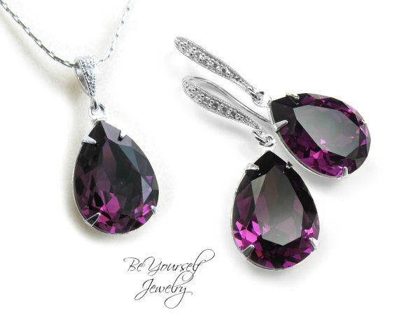 Purple Bridal Earring Plum Bride Necklace Wedding Jewelry Swarovski