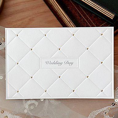 Branca convite do casamento Horizontal com brilho Corações Decoração - conjunto de 50 – EUR € 107.24