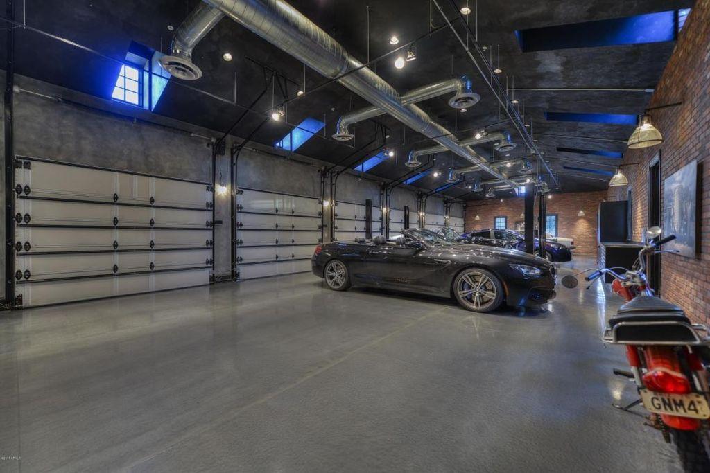 Contemporary Garage With Interior Brick Flush Light Wall Sconce