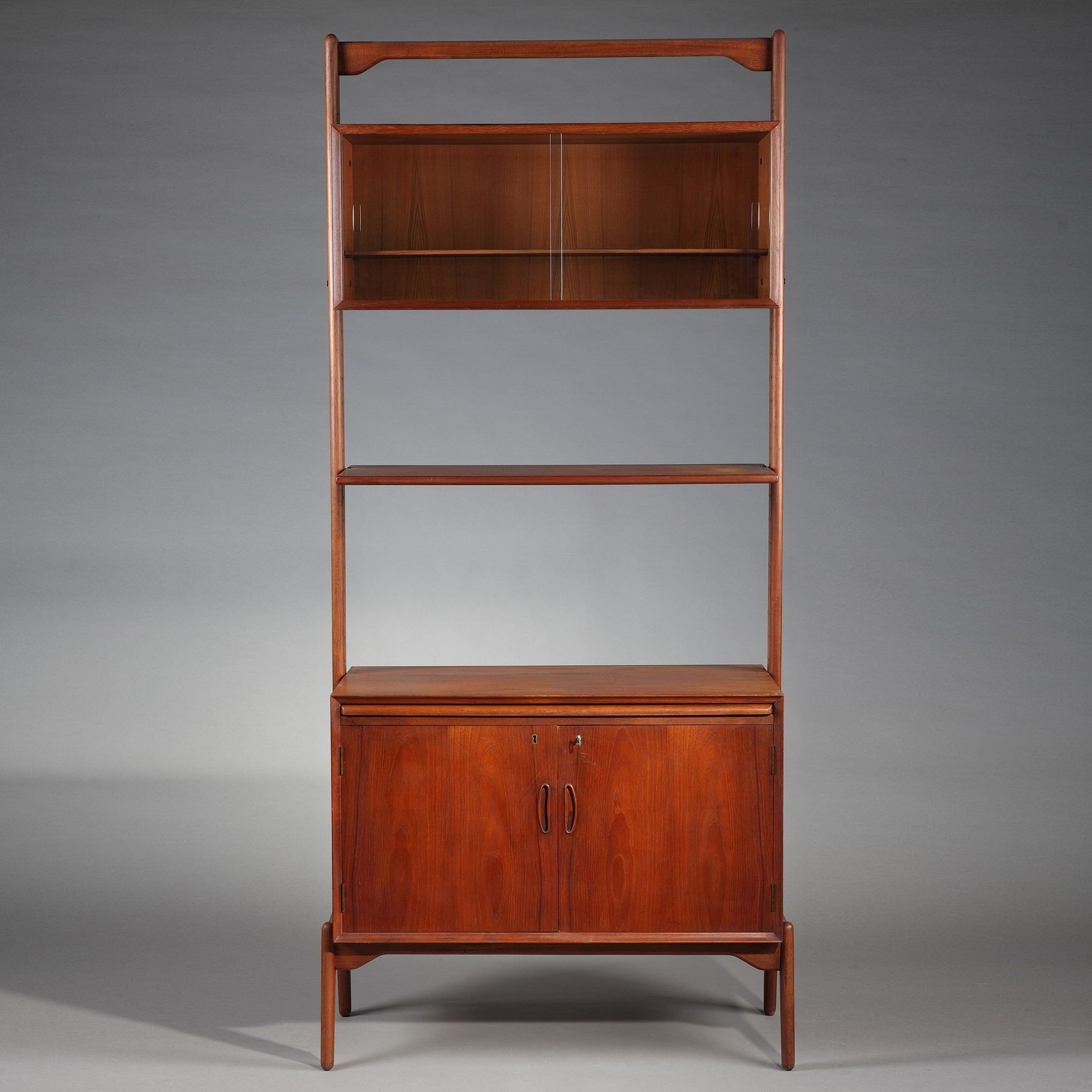 Teak Modular Bookcase Composed Of A Shelf And Two Containers An  # Meuble Container