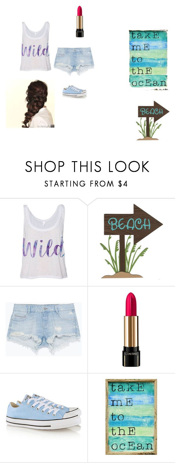 """""""I ❤️ the Beach"""" by kyweepie ❤ liked on Polyvore featuring Zara, Disney, Lancôme, Converse and Pink Marmalade"""