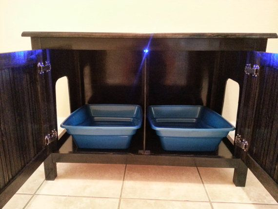 Double Sided Divided Odor Free Custom Hand Made In Usa Wood Cat Litter Box Cabinet No Embly Needed Not Mdf Espresso