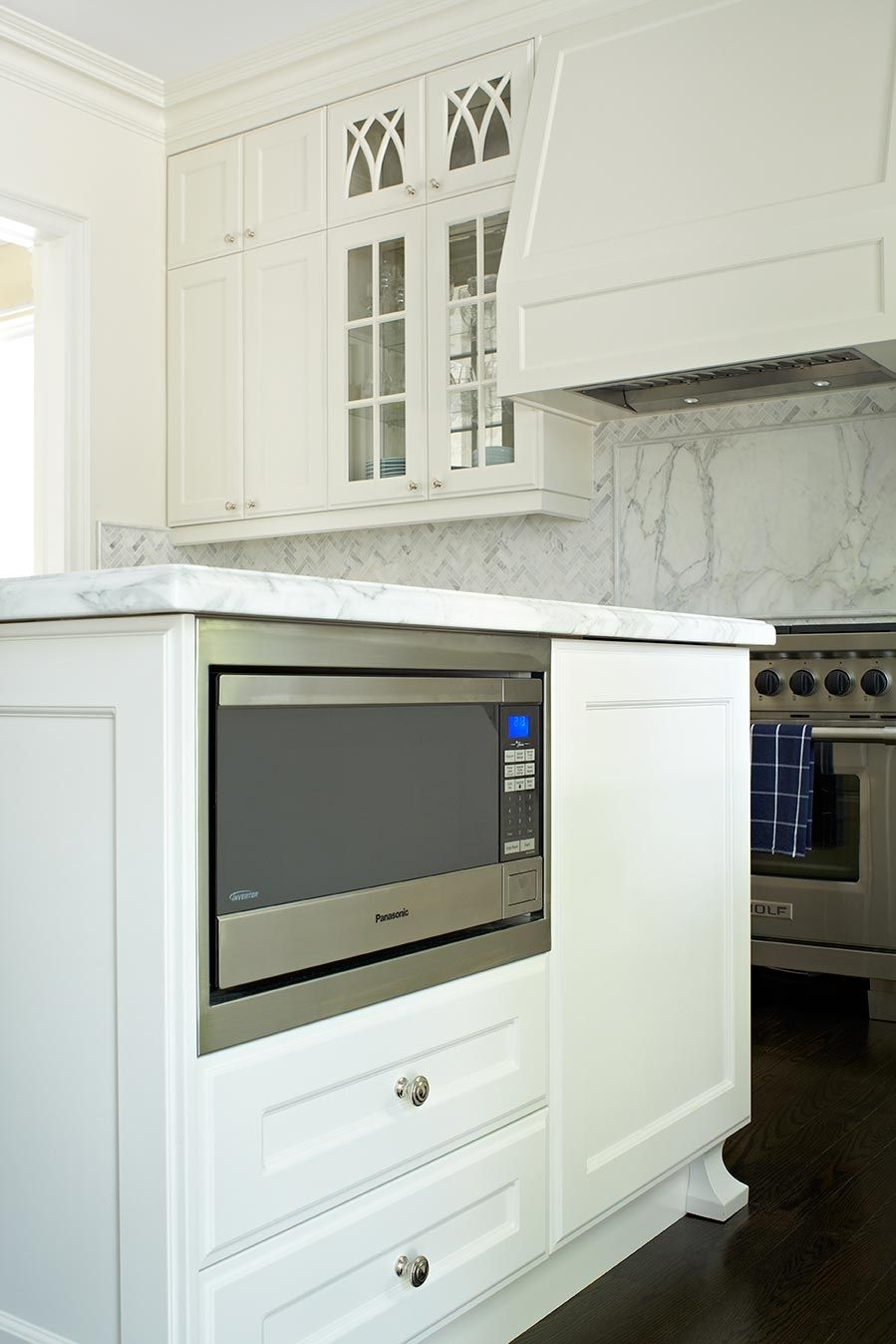 microwave inside the kitchen island