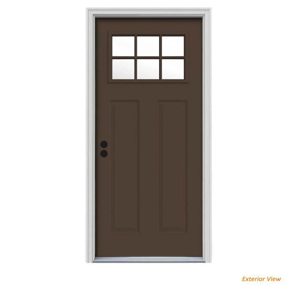 Jeld Wen 30 In X 80 In 6 Lite Craftsman Dark Chocolate Painted Steel Prehung Right Hand Inswing Front Door W Brickmould Thdjw167700826 Steel Doors Exterior Front Door Steel Entry Doors