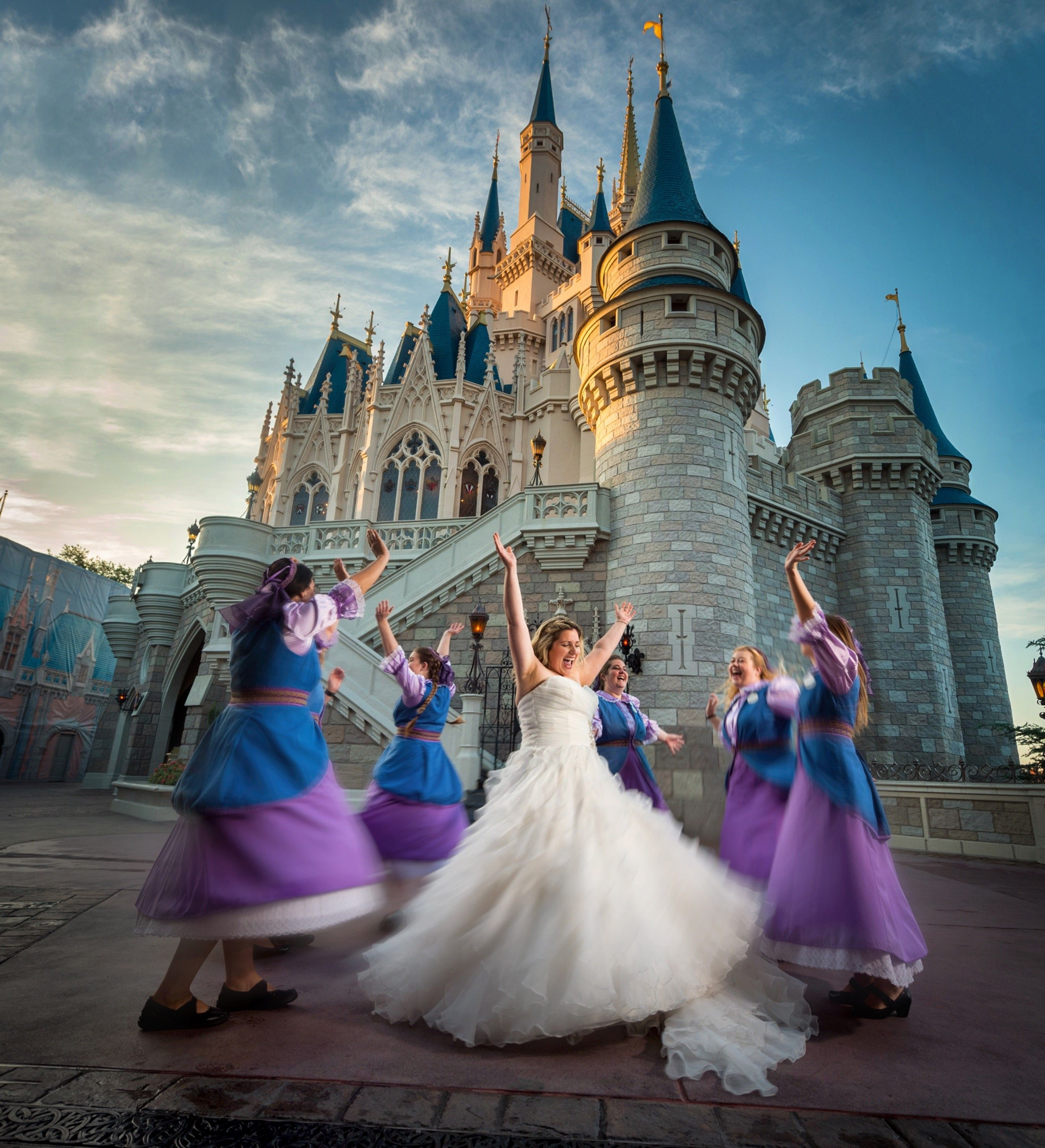 Incredible Morning Portrait Behind Cinderella Castle With A Little