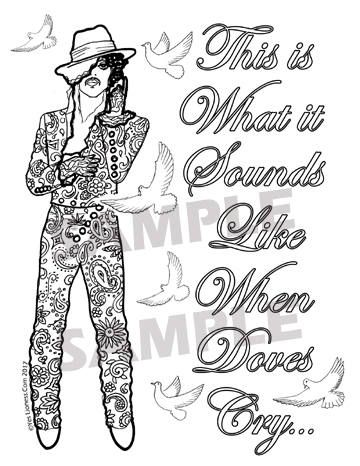 Prince When Doves Cry Digital Downloadable Coloring Page | Crying ...