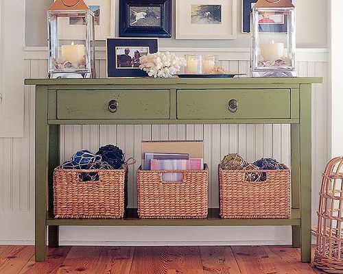 Entryway Table Love This But Wit Less Decor On Top Def Good Junk Drawers