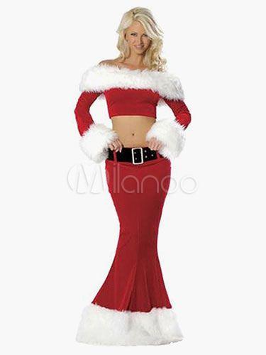 08a3f20736b5c Sexy Christmas Costume 2 Piece Santa Clause Fur Trim Off The ...