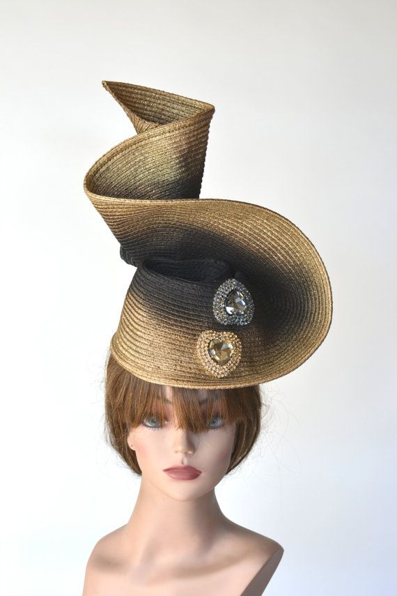 Black Golg Kentucky Derby Hat Fascinator by LadyHatsBoutique