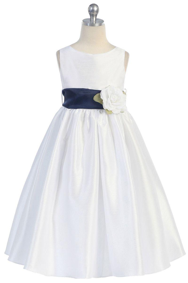 Navy blue flowers and sash flower girl dress bridal party dresses navy blue flowers and sash flower girl dress k204n 4995 on girlsdressline izmirmasajfo