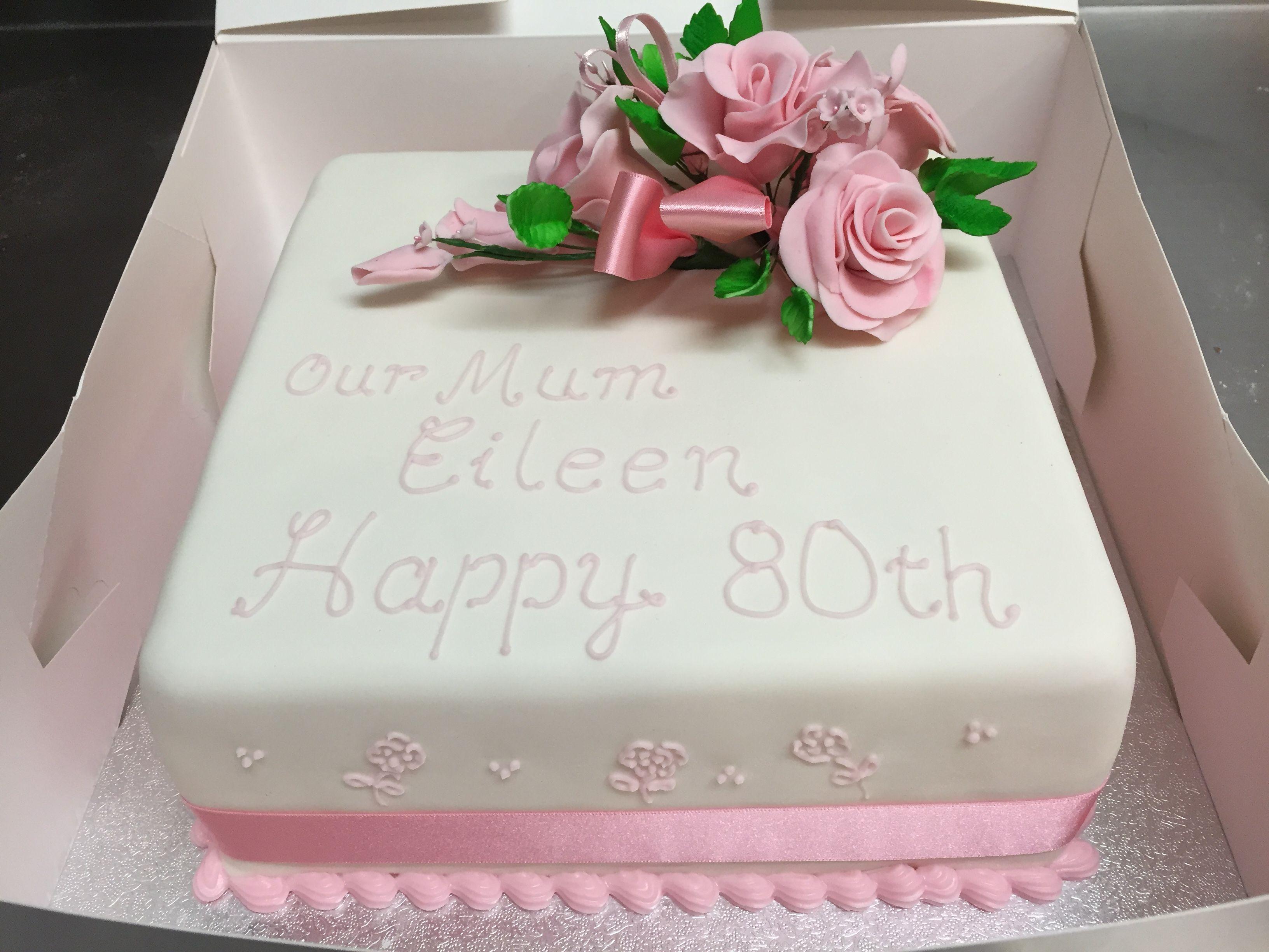 Beautiful traditional birthday cake Handmade fondant flowers Rum