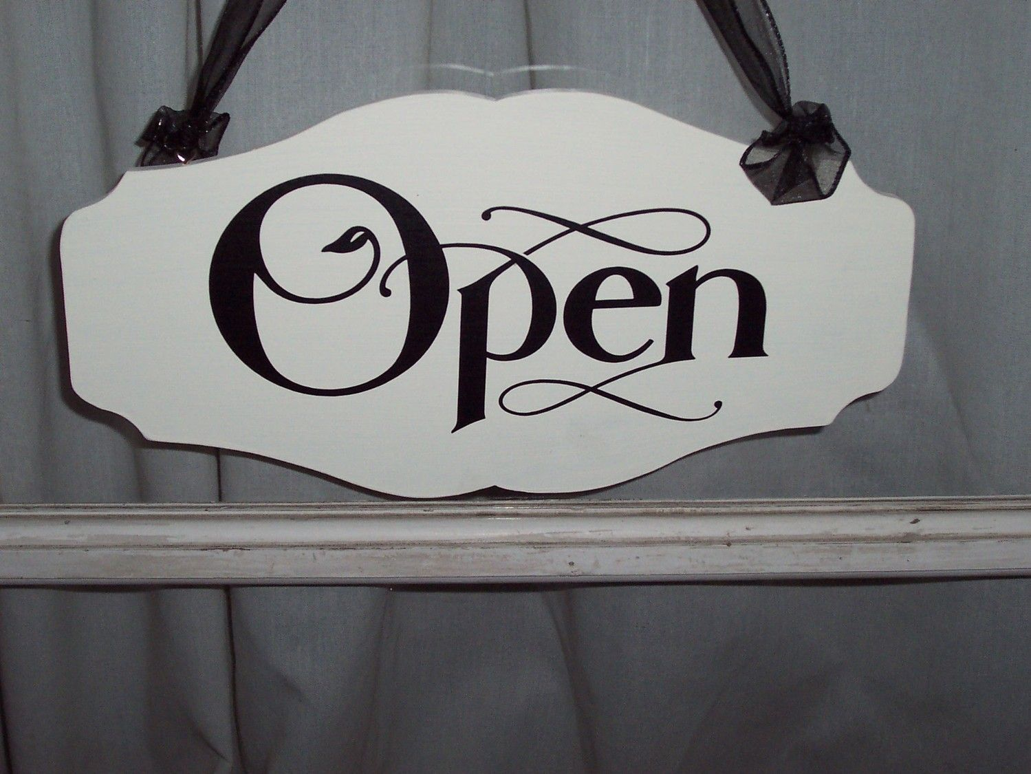 Open Store Doors whimsical vintage chic style shop open close store hours scalloped