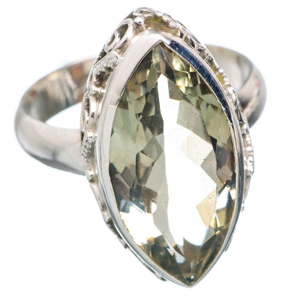 Faceted Green Amethyst 925 Sterling Silver Ring Size 8 RING715667