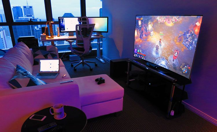 40 Best Video Game Room Ideas Cool Gaming Setup 2020 Guide In 2020 Attic Game Room Room Setup Game Room Design