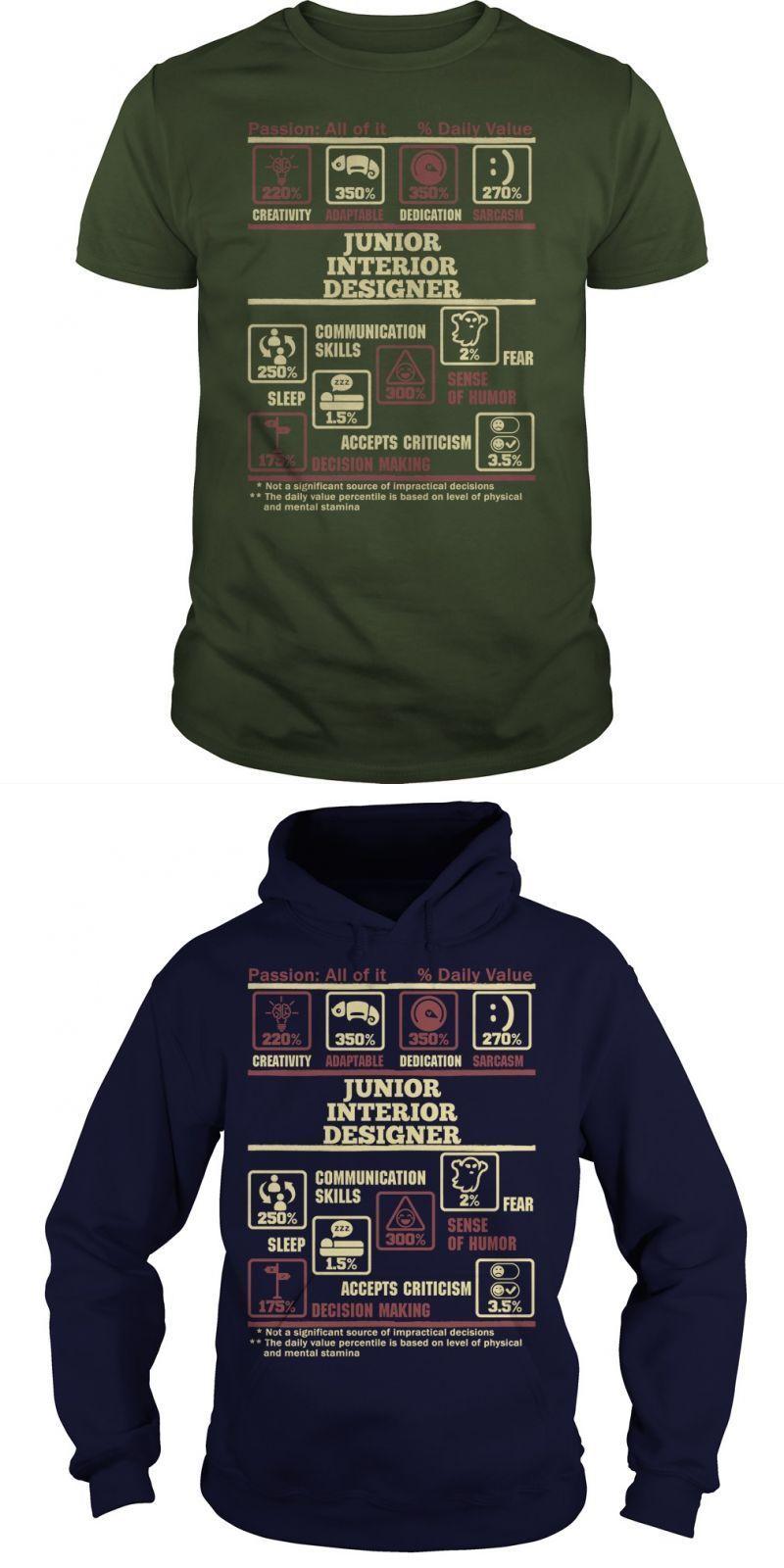 JUNIOR INTERIOR DESIGNER Guys Tee Hoodie Sweat Shirt Ladies Tee Guys