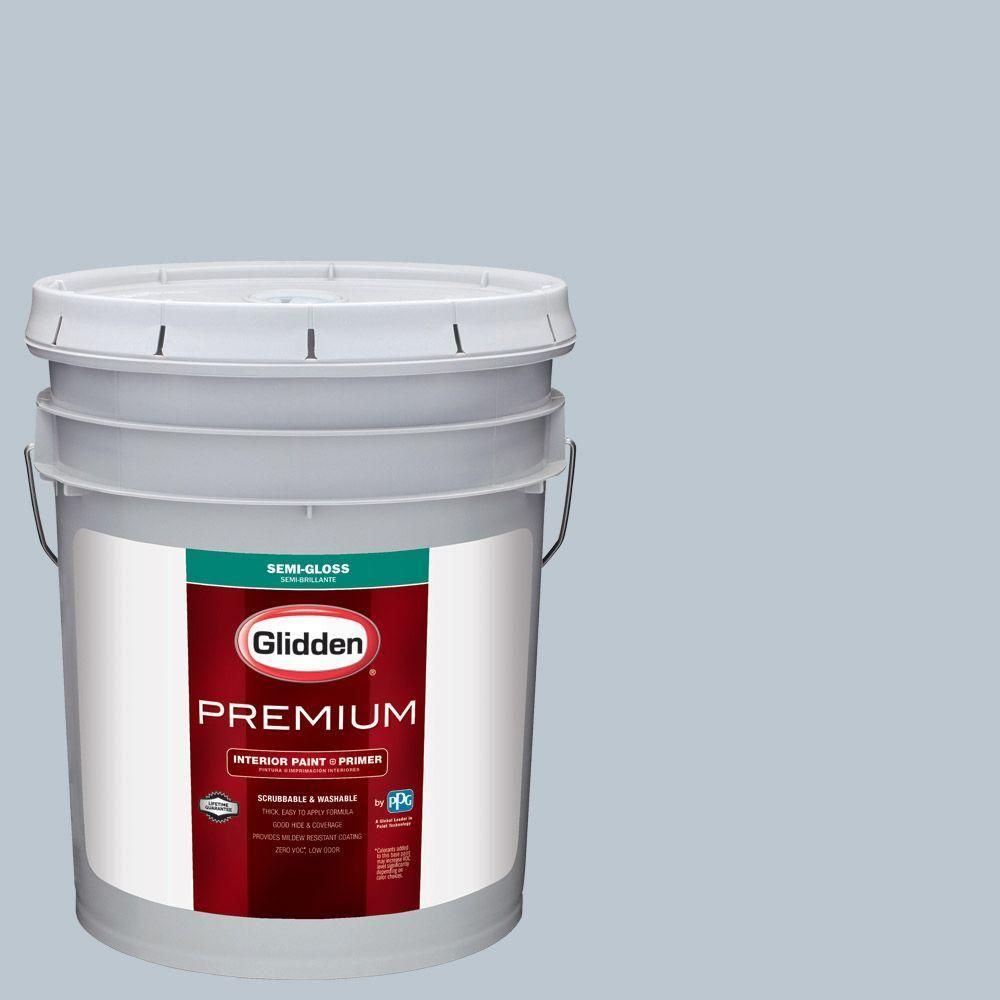 Glidden Premium 5 gal. #HDGV10 Faded Denim Semi-Gloss Interior Paint with Primer